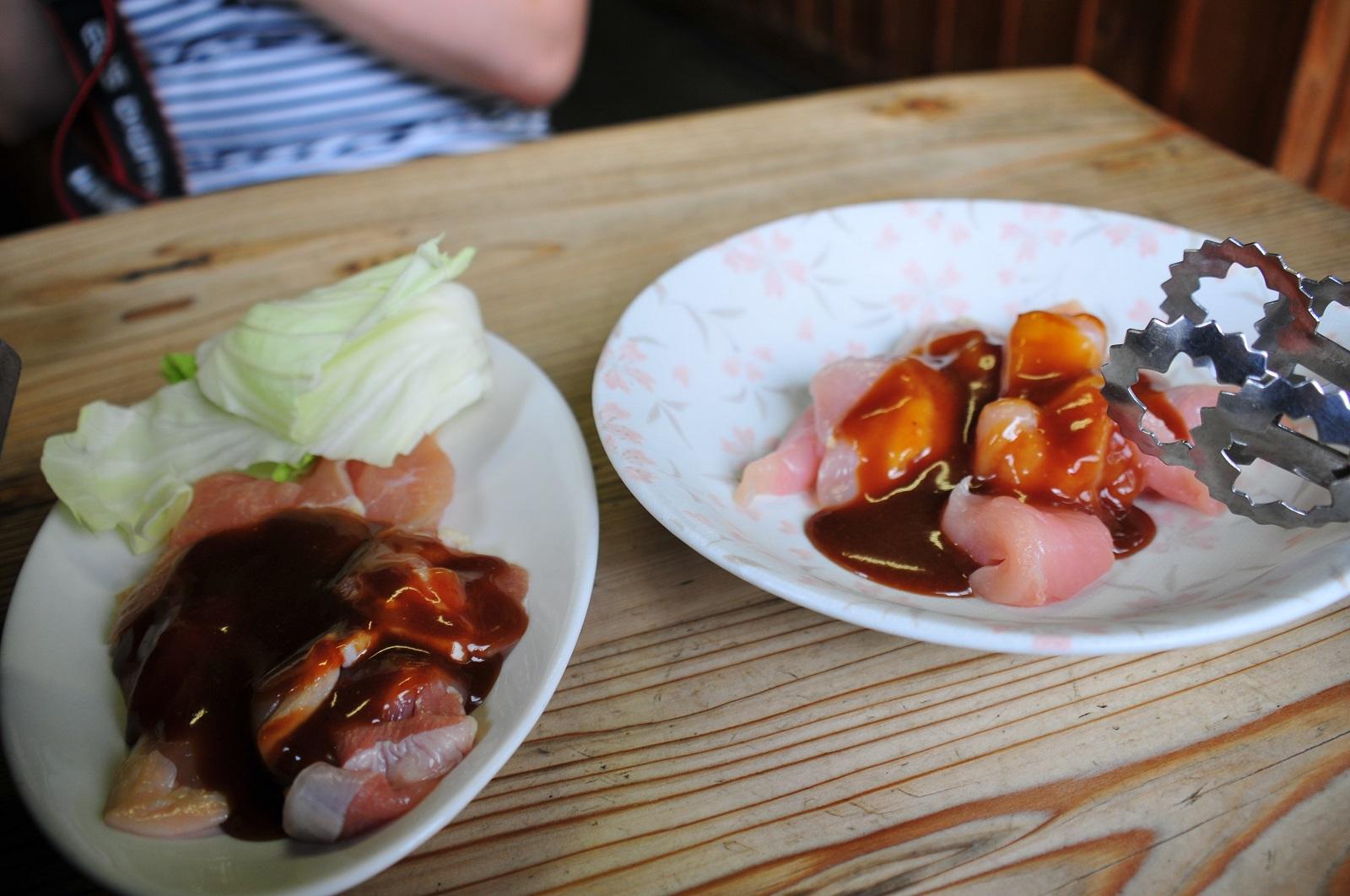 錦爽鶏と若鶏の食べ比べ