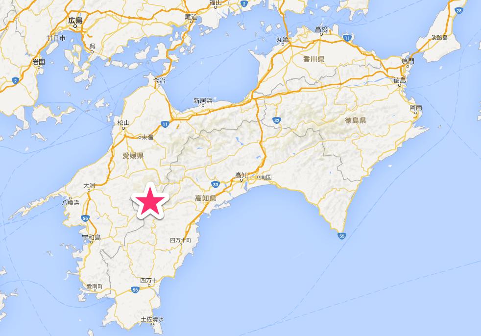 四国カルストはこの辺り。
