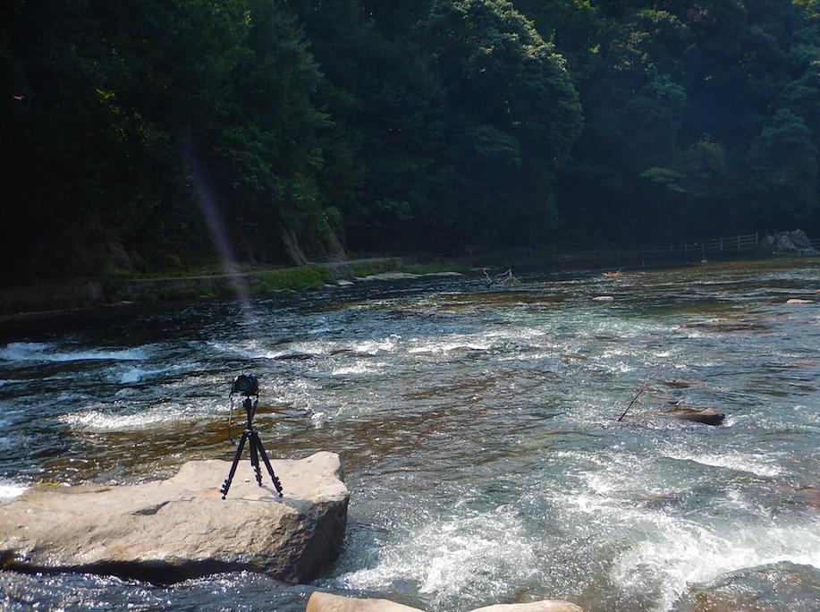 高級カメラD810と急流