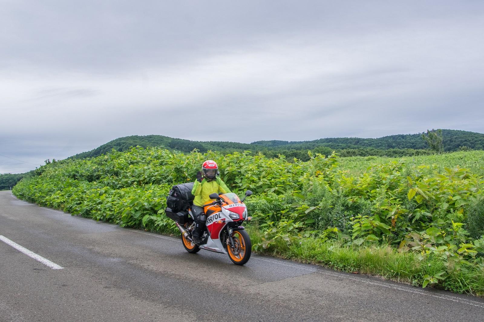 2日目朝・能取岬に颯爽と登場@やすぽんさん撮影